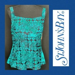 SJB Tankini Top Green Black 16W NWT